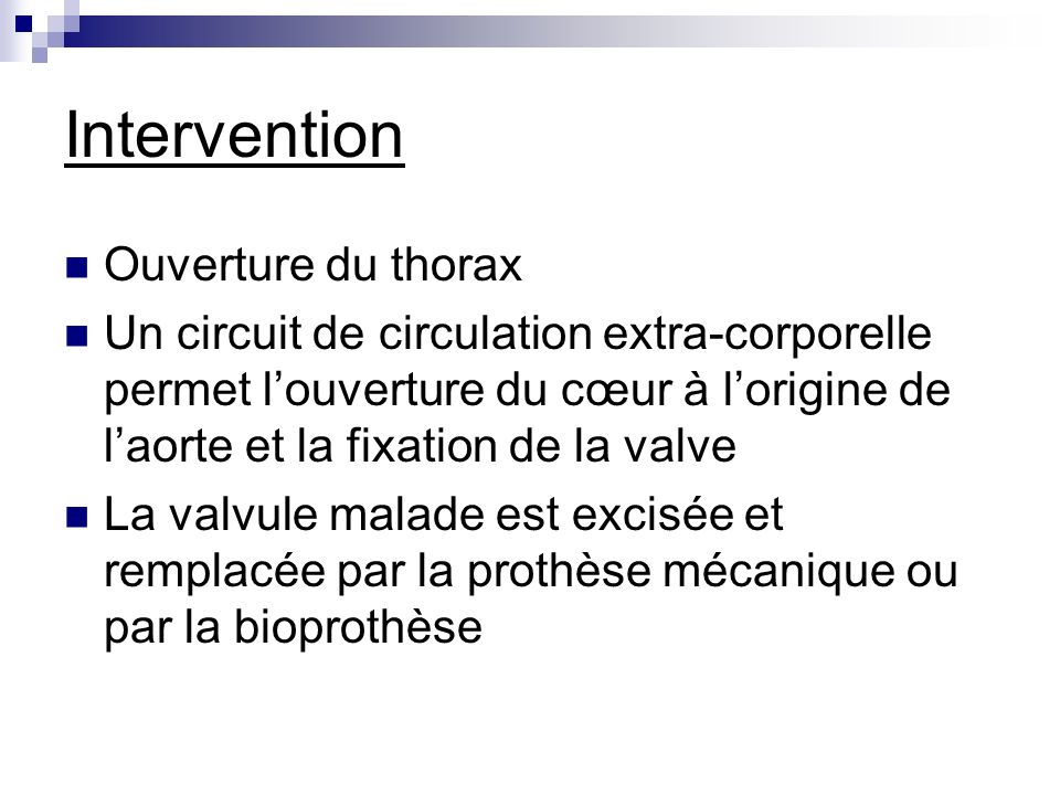 Intervention Ouverture du thorax