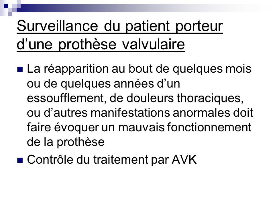 Surveillance du patient porteur d'une prothèse valvulaire