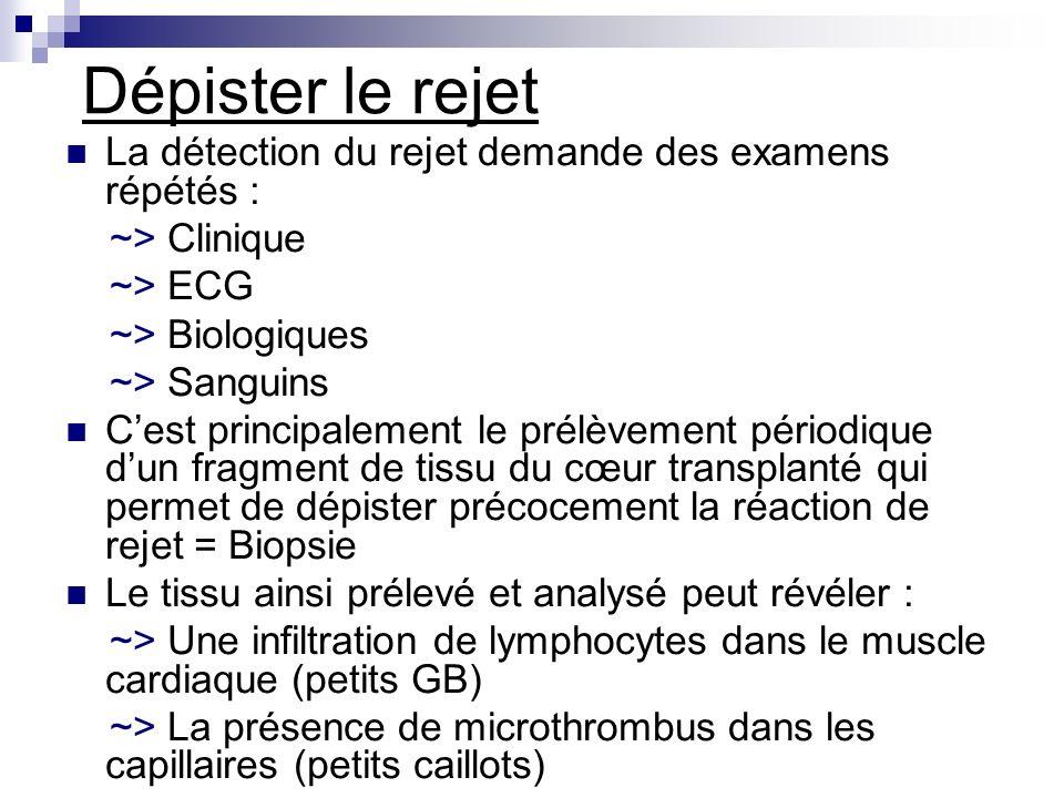 Dépister le rejet La détection du rejet demande des examens répétés :