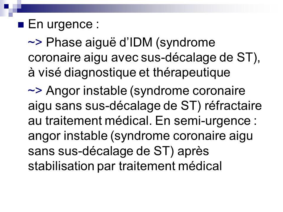 En urgence : ~> Phase aiguë d'IDM (syndrome coronaire aigu avec sus-décalage de ST), à visé diagnostique et thérapeutique.