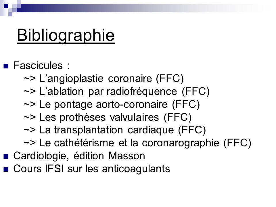 Bibliographie Fascicules : ~> L'angioplastie coronaire (FFC)