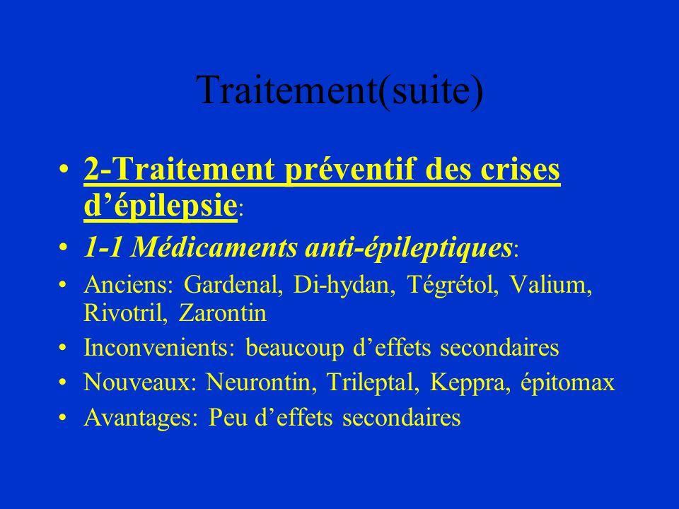 Traitement(suite) 2-Traitement préventif des crises d'épilepsie: