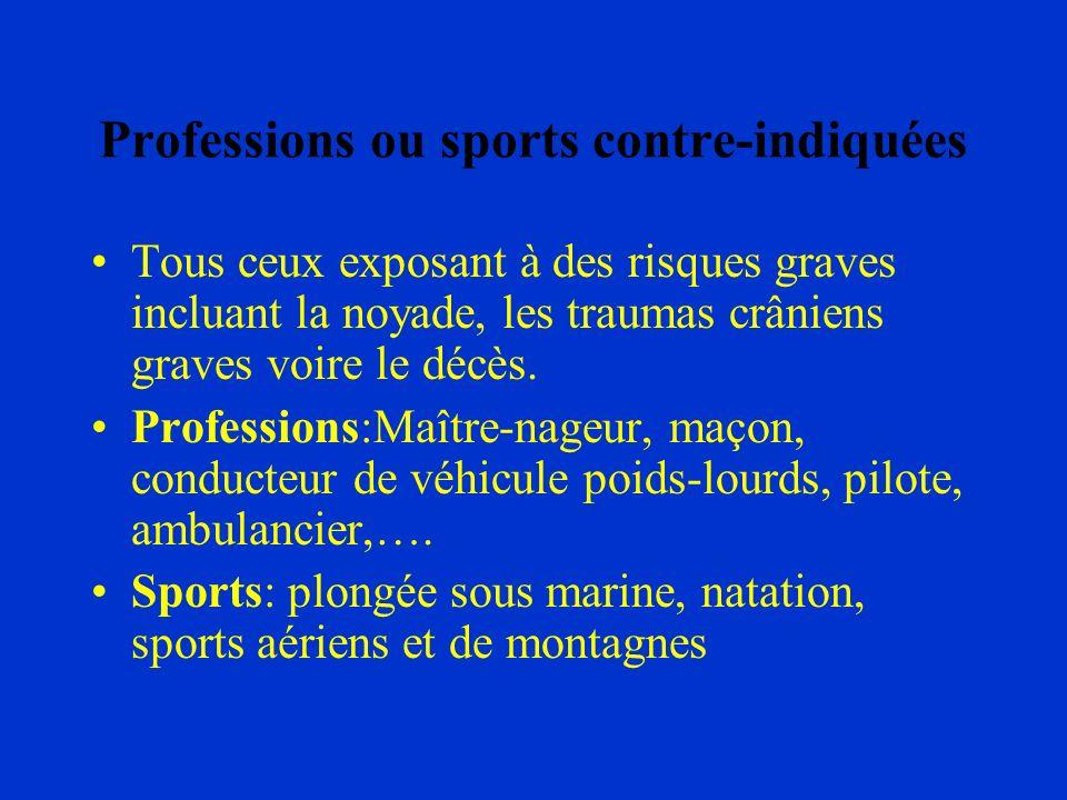 Professions ou sports contre-indiquées