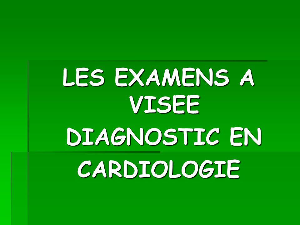 LES EXAMENS A VISEE DIAGNOSTIC EN CARDIOLOGIE