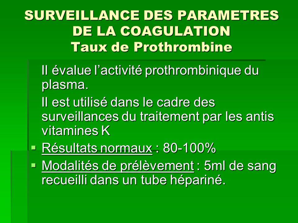 SURVEILLANCE DES PARAMETRES DE LA COAGULATION Taux de Prothrombine
