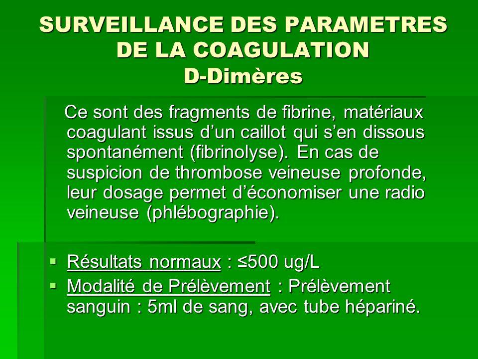 SURVEILLANCE DES PARAMETRES DE LA COAGULATION D-Dimères