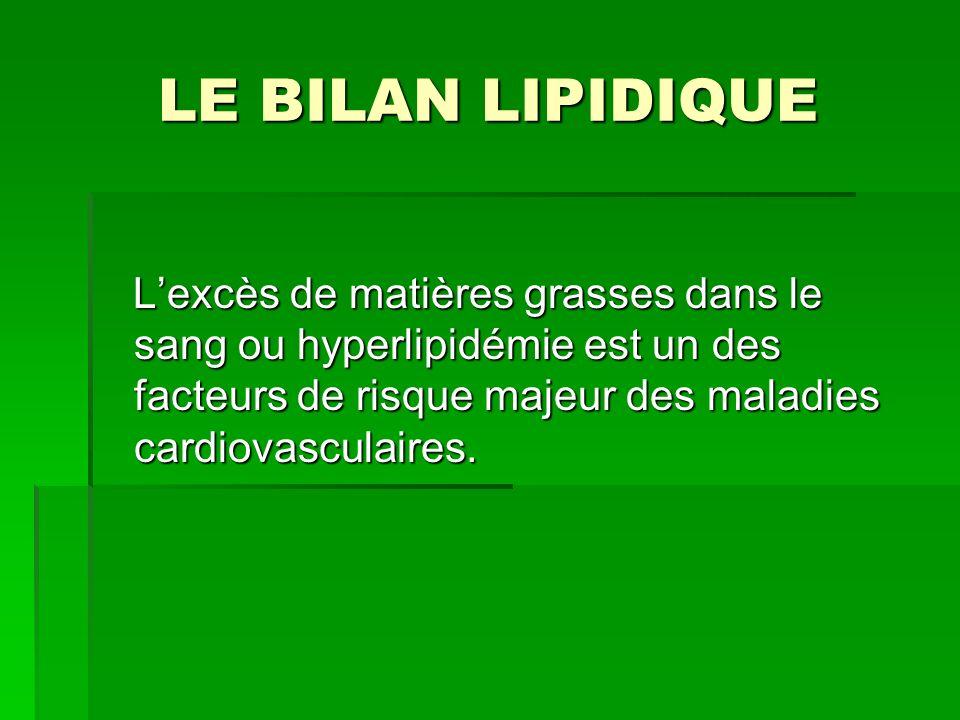 LE BILAN LIPIDIQUE L'excès de matières grasses dans le sang ou hyperlipidémie est un des facteurs de risque majeur des maladies cardiovasculaires.
