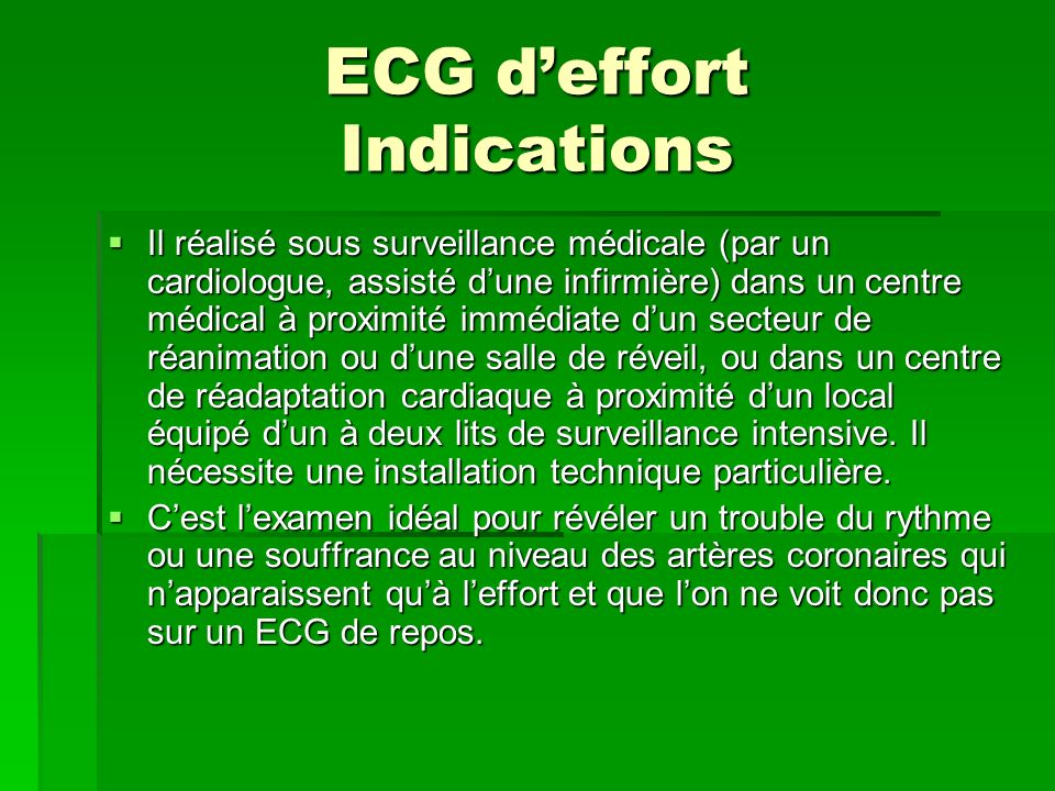 ECG d'effort Indications