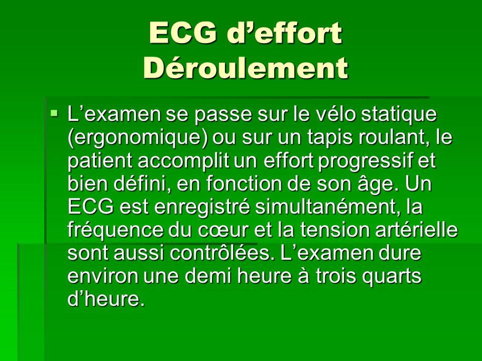 ECG d'effort Déroulement