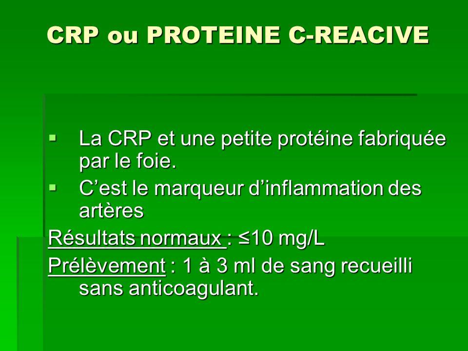 CRP ou PROTEINE C-REACIVE