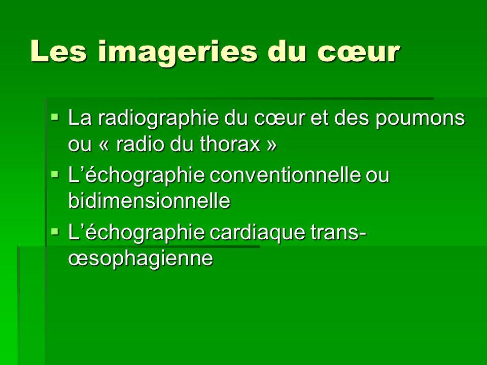 Les imageries du cœur La radiographie du cœur et des poumons ou « radio du thorax » L'échographie conventionnelle ou bidimensionnelle.