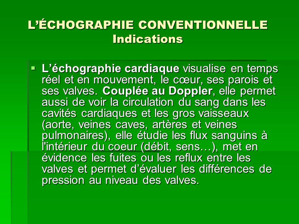 L'ÉCHOGRAPHIE CONVENTIONNELLE Indications