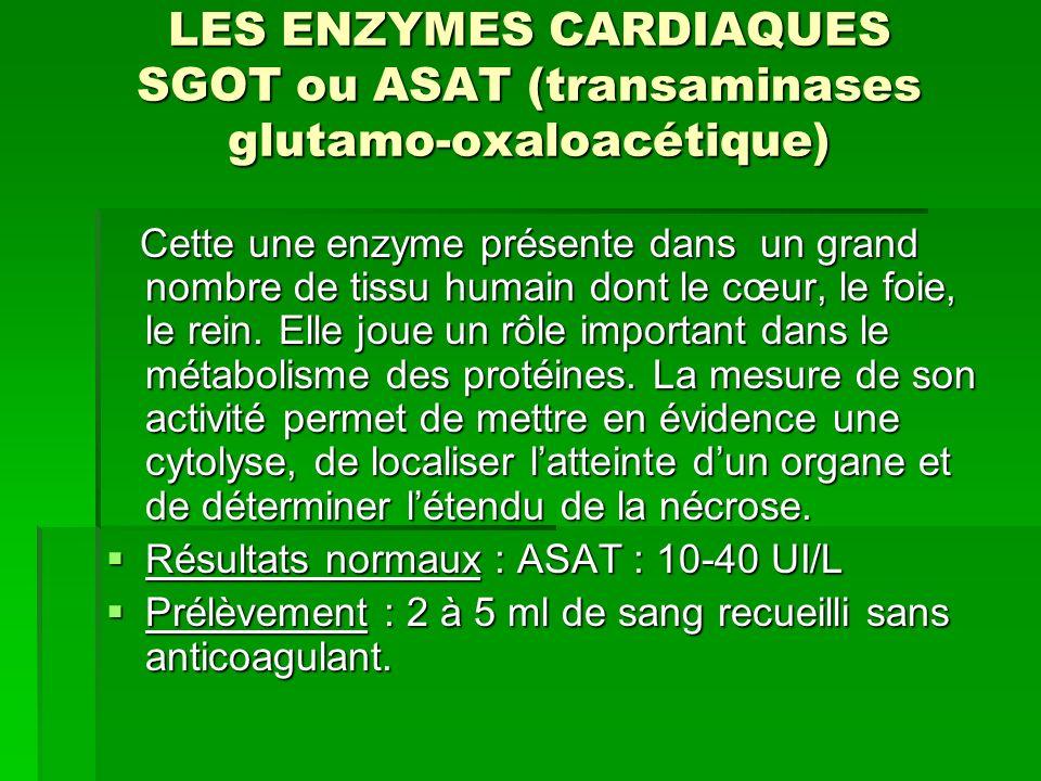 LES ENZYMES CARDIAQUES SGOT ou ASAT (transaminases glutamo-oxaloacétique)