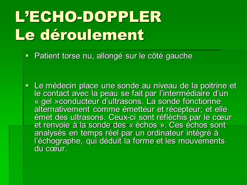 L'ECHO-DOPPLER Le déroulement