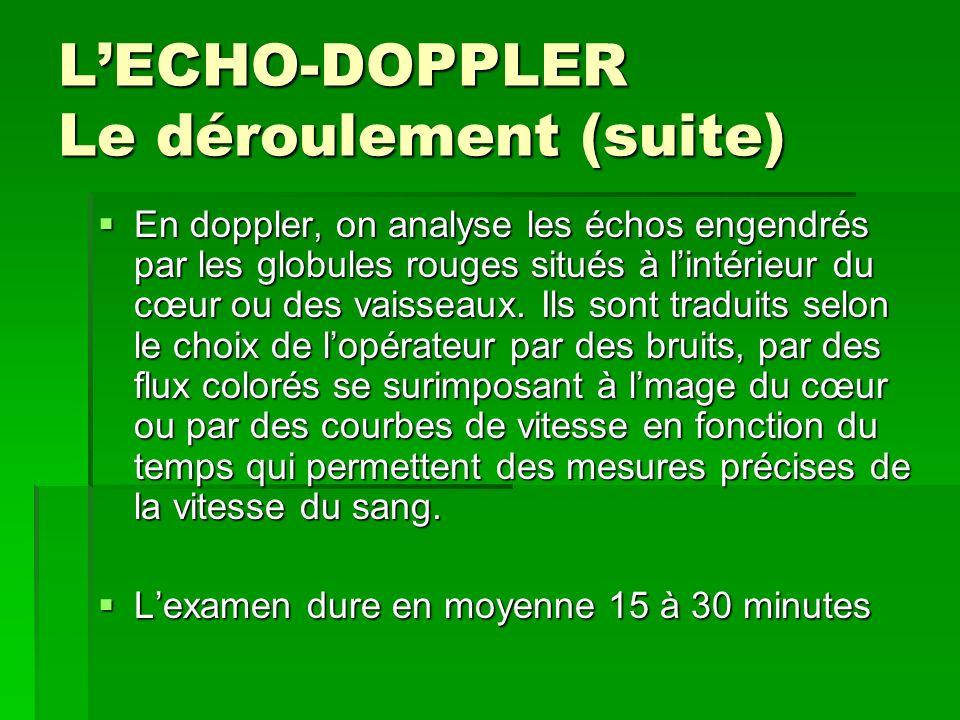 L'ECHO-DOPPLER Le déroulement (suite)