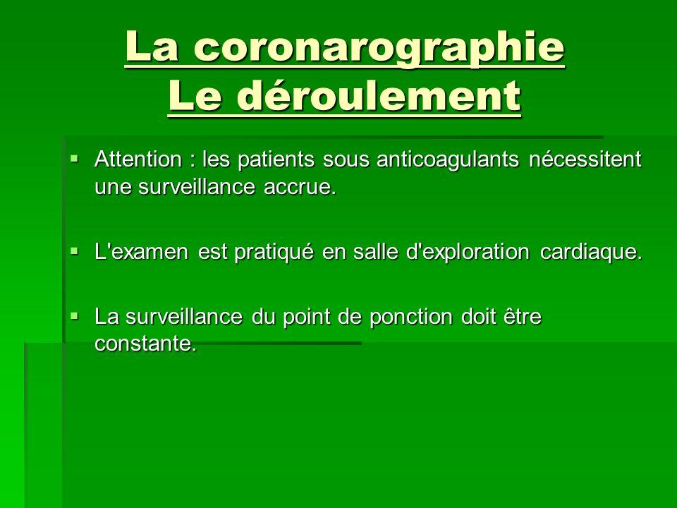 La coronarographie Le déroulement