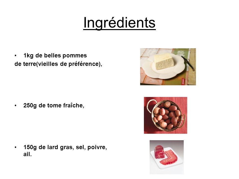 Ingrédients 1kg de belles pommes de terre(vieilles de préférence),