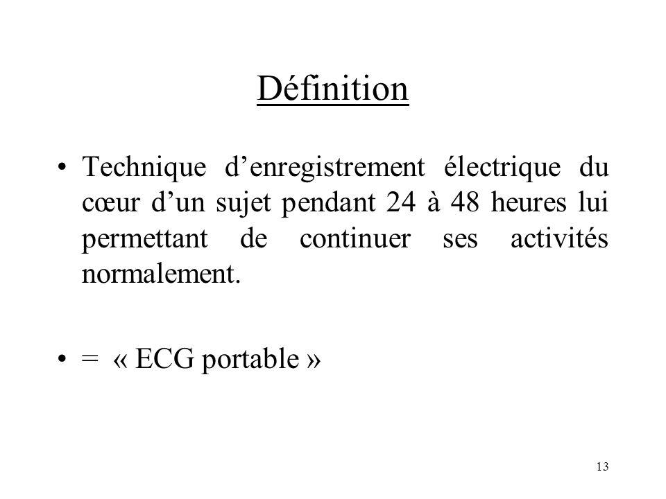 Définition Technique d'enregistrement électrique du cœur d'un sujet pendant 24 à 48 heures lui permettant de continuer ses activités normalement.