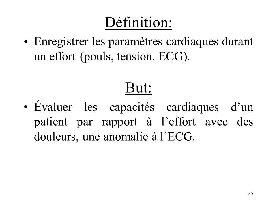 Définition: Enregistrer les paramètres cardiaques durant un effort (pouls, tension, ECG). But: