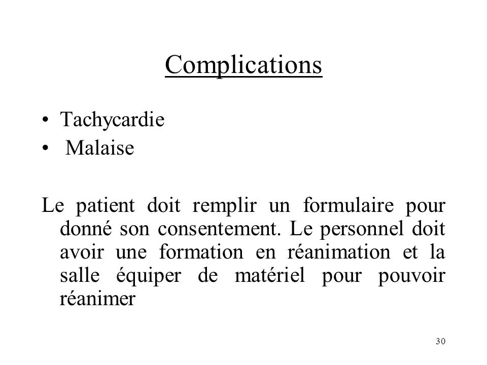 Complications Tachycardie Malaise
