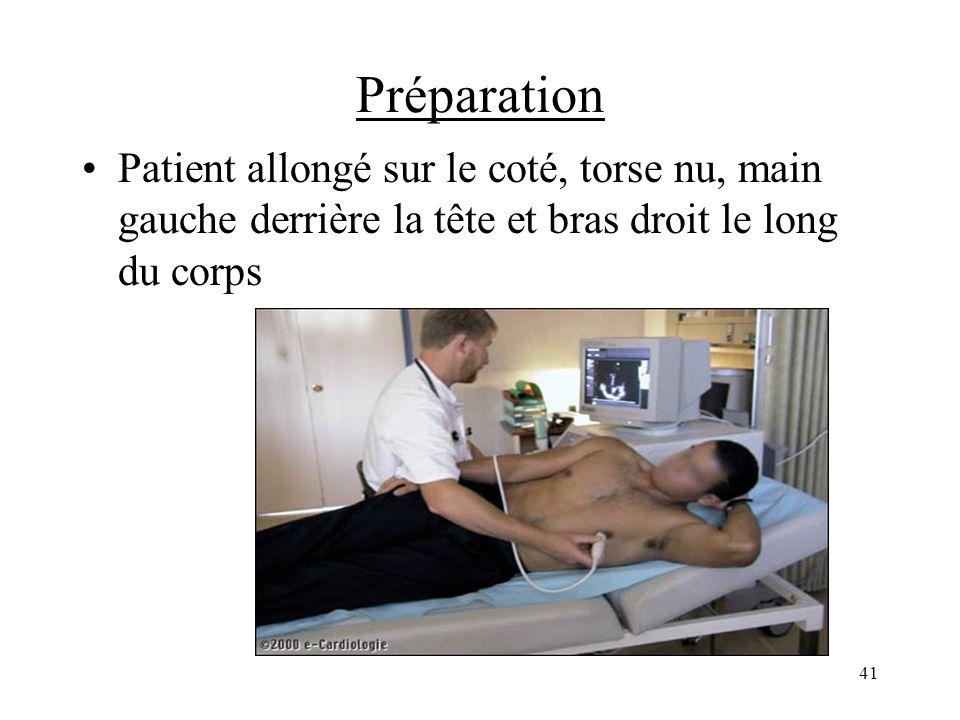 Préparation Patient allongé sur le coté, torse nu, main gauche derrière la tête et bras droit le long du corps.