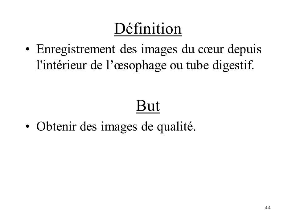 Définition Enregistrement des images du cœur depuis l intérieur de l'œsophage ou tube digestif. But.