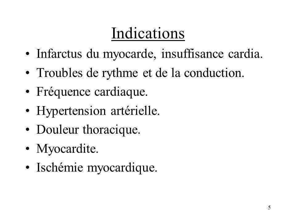 Indications Infarctus du myocarde, insuffisance cardia.