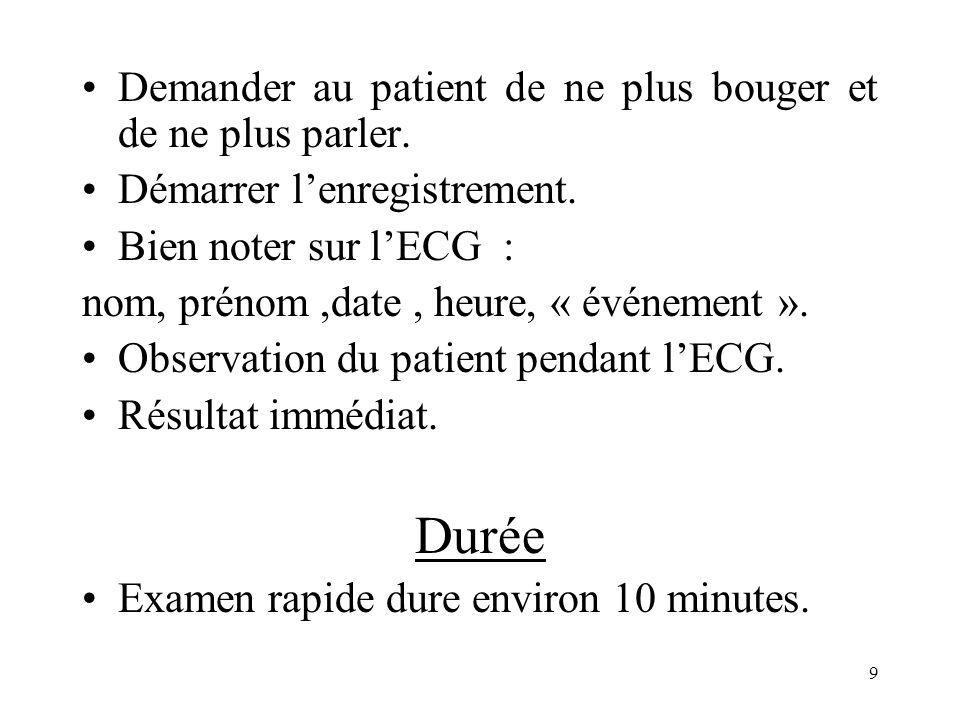 Durée Demander au patient de ne plus bouger et de ne plus parler.