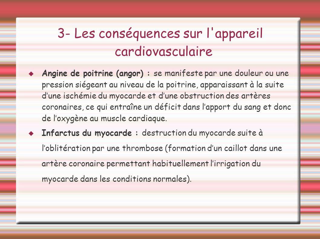3- Les conséquences sur l appareil cardiovasculaire