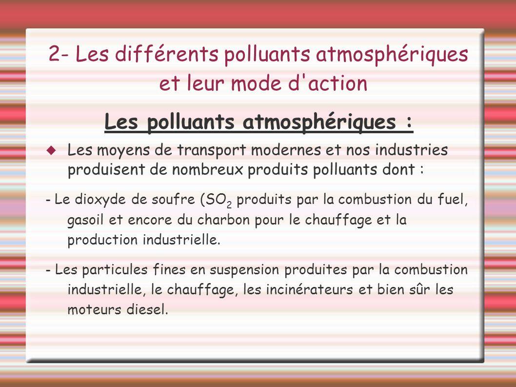 2- Les différents polluants atmosphériques et leur mode d action