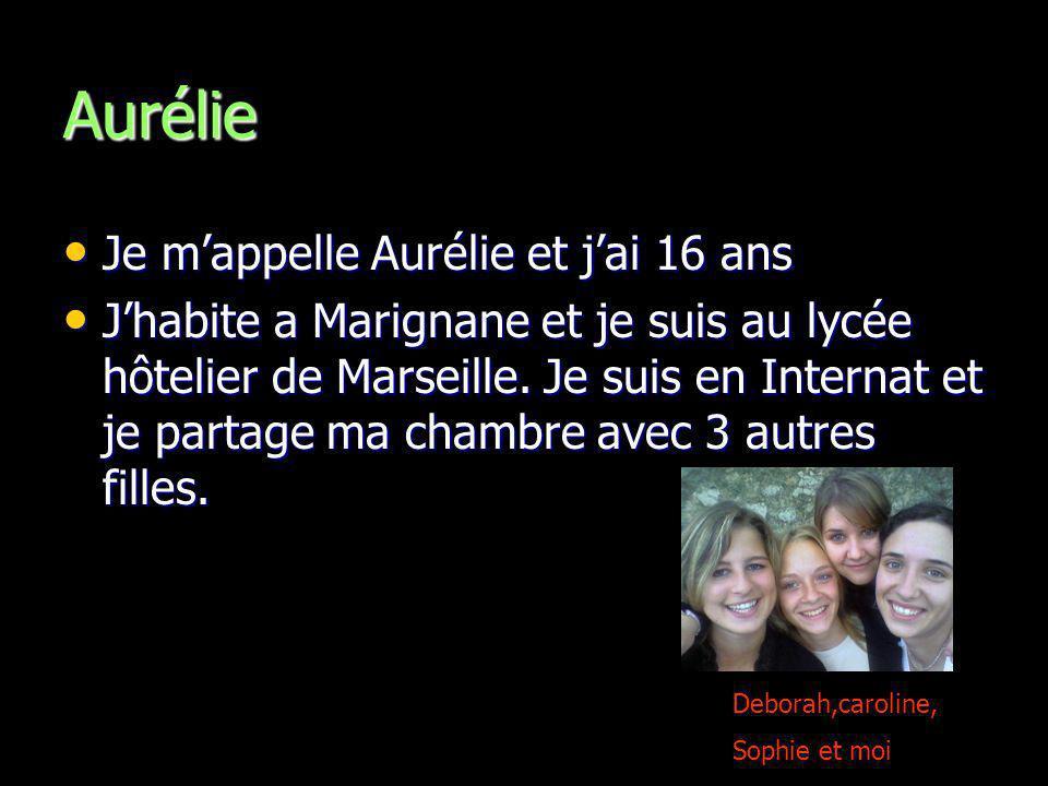 Aurélie Je m'appelle Aurélie et j'ai 16 ans