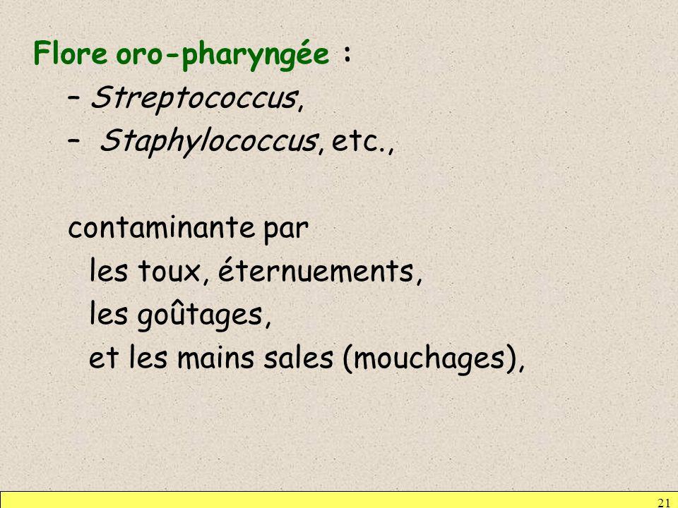 Flore oro-pharyngée : Streptococcus, Staphylococcus, etc., contaminante par. les toux, éternuements,