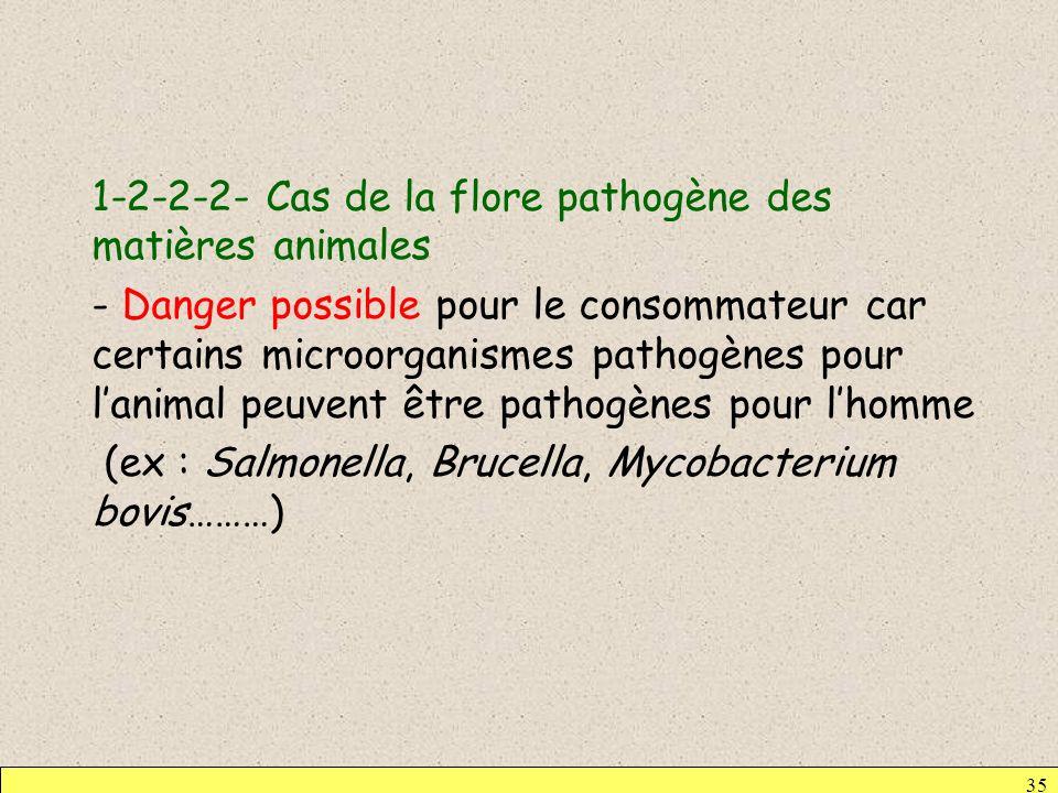 1-2-2-2- Cas de la flore pathogène des matières animales - Danger possible pour le consommateur car certains microorganismes pathogènes pour l'animal peuvent être pathogènes pour l'homme (ex : Salmonella, Brucella, Mycobacterium bovis………)