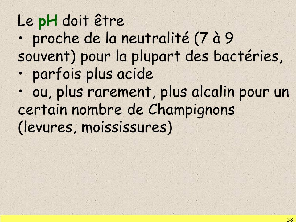 Le pH doit être proche de la neutralité (7 à 9 souvent) pour la plupart des bactéries, parfois plus acide.
