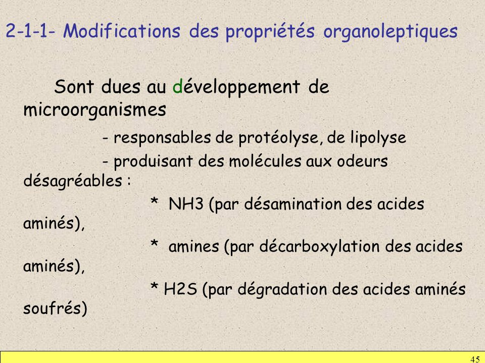 2-1-1- Modifications des propriétés organoleptiques