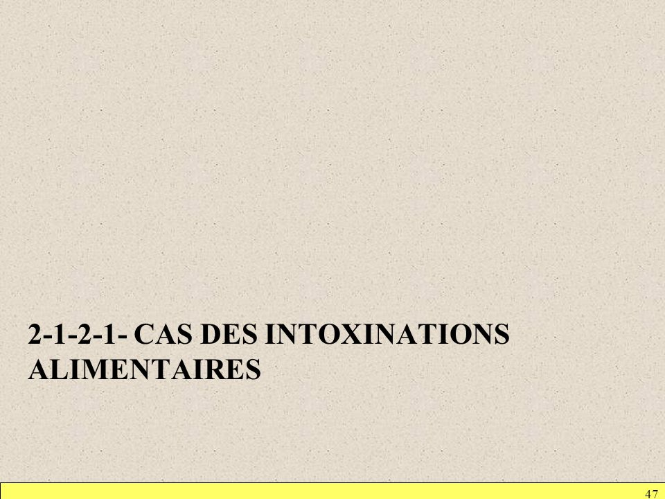 2-1-2-1- CAS DES INTOXINATIONS ALIMENTAIRES