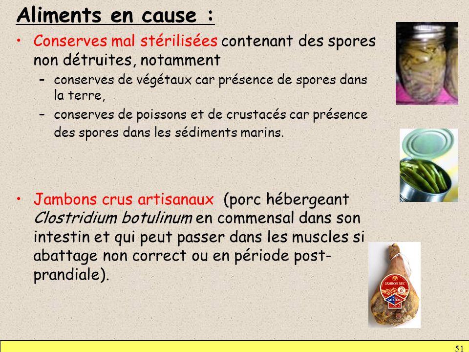 Aliments en cause : Conserves mal stérilisées contenant des spores non détruites, notamment.