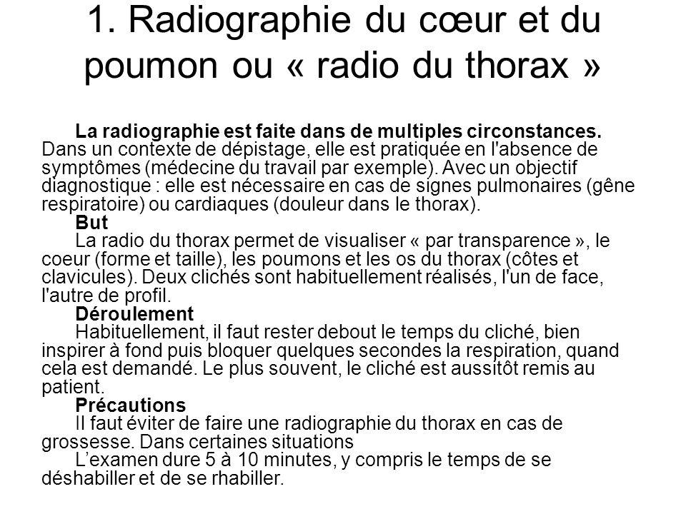 1. Radiographie du cœur et du poumon ou « radio du thorax »