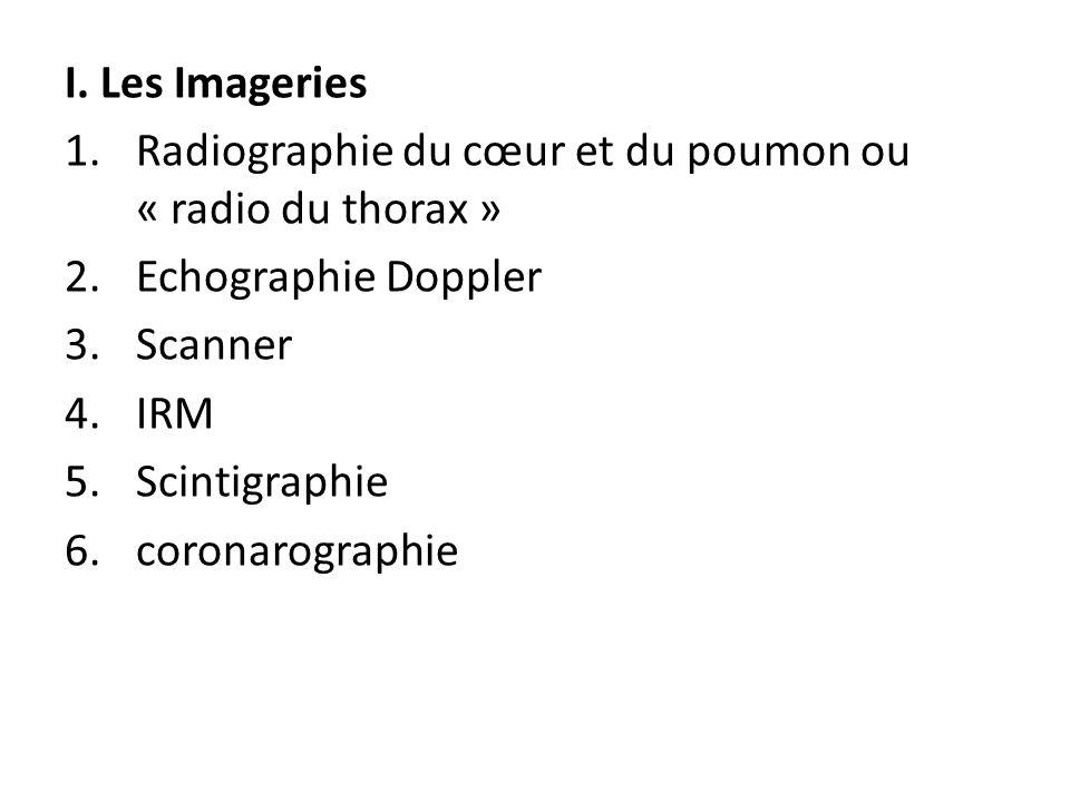 I. Les Imageries Radiographie du cœur et du poumon ou « radio du thorax » Echographie Doppler. Scanner.