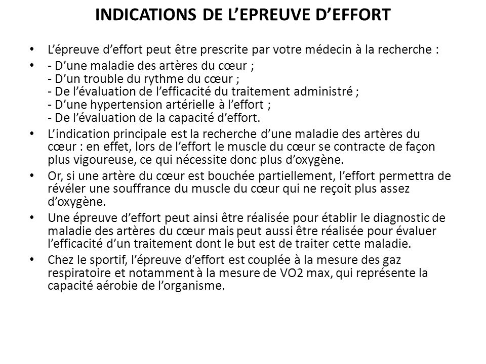 INDICATIONS DE L'EPREUVE D'EFFORT