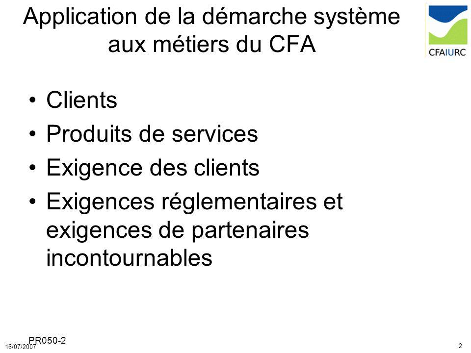 Application de la démarche système aux métiers du CFA