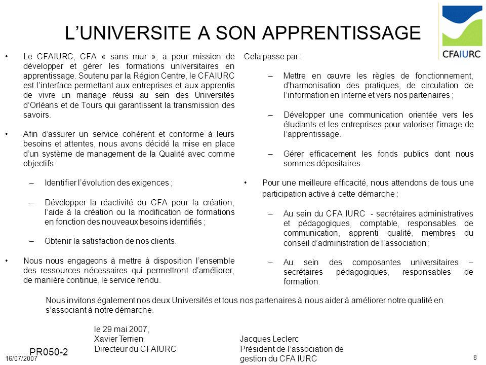 L'UNIVERSITE A SON APPRENTISSAGE