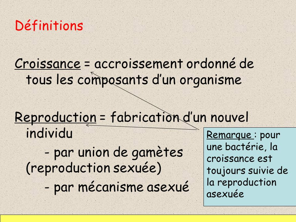 Reproduction = fabrication d'un nouvel individu