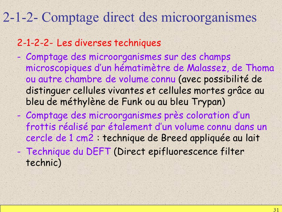 2-1-2- Comptage direct des microorganismes