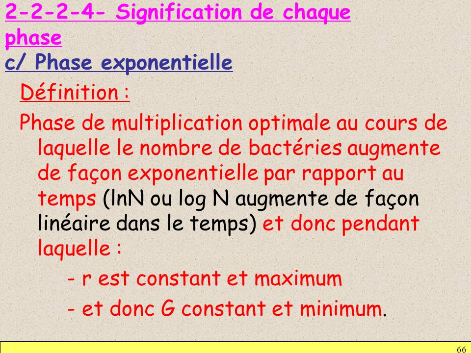 Signification de chaque phase c/ Phase exponentielle