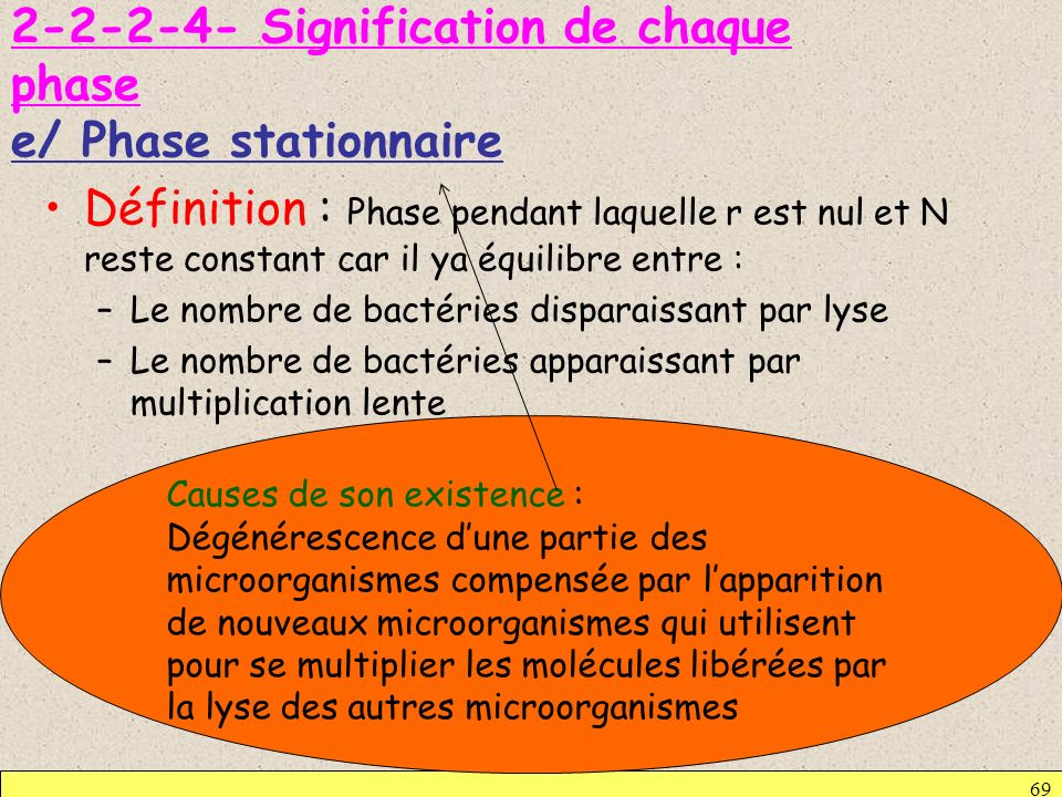 Signification de chaque phase e/ Phase stationnaire