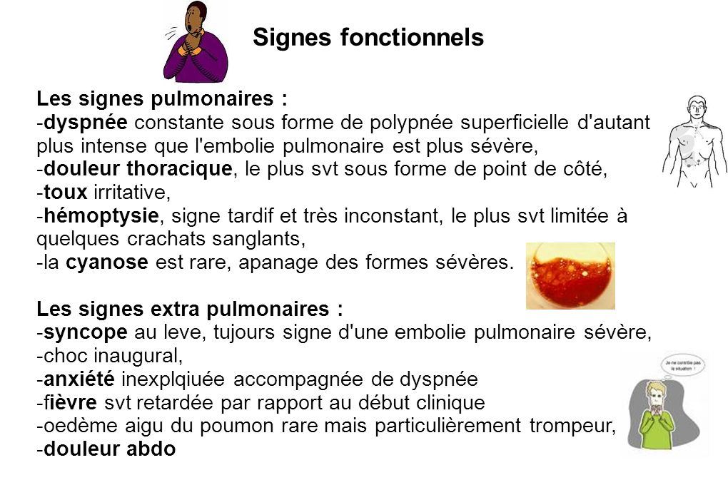 Signes fonctionnels Les signes pulmonaires :