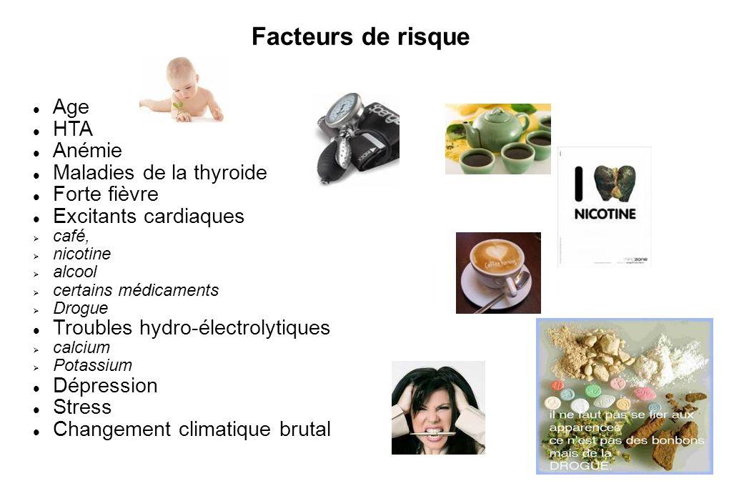 Facteurs de risque Age HTA Anémie Maladies de la thyroide Forte fièvre