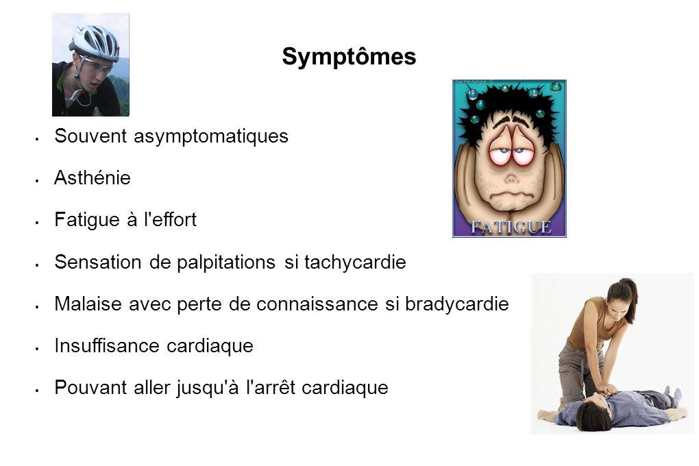 Symptômes Souvent asymptomatiques Asthénie Fatigue à l effort