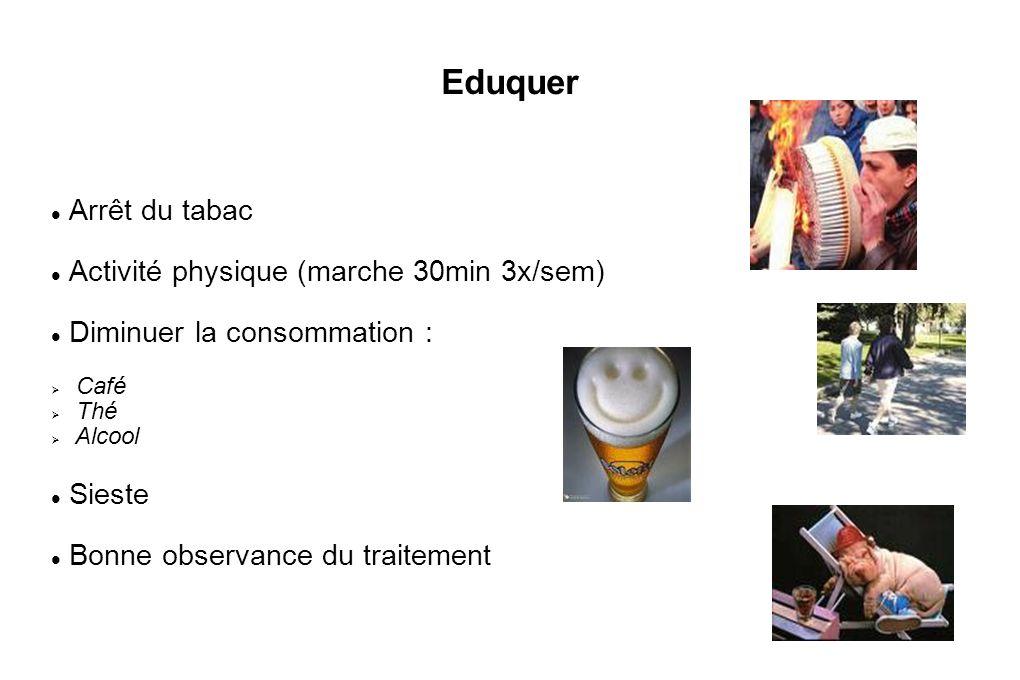 Eduquer Arrêt du tabac Activité physique (marche 30min 3x/sem)